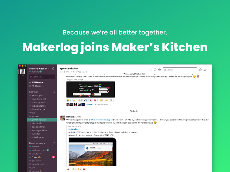 Makerlog + Maker's Kitchen = ❤️